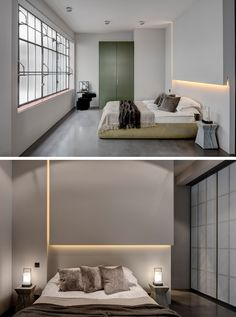 In this bedroom, the headboard has been designed in a way to hide the lighting. A sliding privacy screen closes off the bedroom from the rest of the apartment.