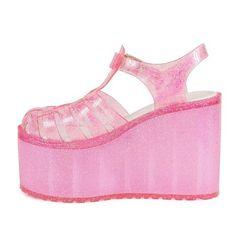 5345bb5b7e6b UNIF Hella Jelly pink glitter platforms - Depop Jelly Sandals, Unif, Pink  Glitter,