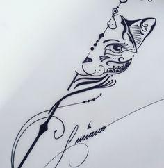 New Ideas Tattoo Cat Flower Tatoo Neue Tattoos, Body Art Tattoos, Small Tattoos, Tatoos, Tatuaje Cover Up, Petit Tattoo, Cat Tattoo Designs, Tattoo Zeichnungen, Cat Flowers