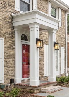 wauwatosa front entry milwaukee concrete masonry curb appeal doors home decor landscape Front Door Overhang, Front Porch Columns, House Columns, Front Porch Design, Front Entry, Colonial House Exteriors, Colonial Exterior, Wall Exterior, Exterior Colors