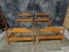 Ethan Allen maple twin beds