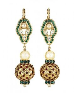 Embedded Crystal Ball Earrings - Designer Mawi Keivom has made her namesake label the go-to for statement accessories with extraordinary pieces like these Mumbai-inspired Embedded Crystal Ball Earrings. Set with Swarovski crystals and costume pearls it is the ultimate fusion of contemporary and classic style. Wear this sparkling duo with a glamorous updo to make sure this timeless pair receives full attention.     Shown here in 18K Gold-plated with Swarovski crystals, glass & costume pearls.