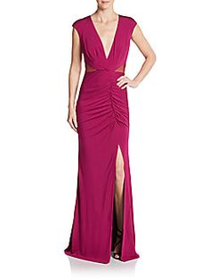 ABS - V-Neck Ruched Jersey Gown