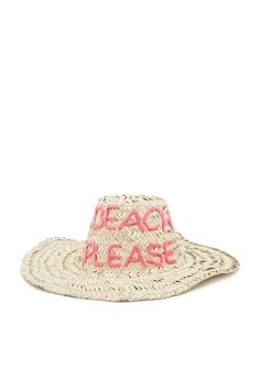 The perfect floppy hat for a sunny day by Z L Europe trade  This straw hat  features braided embroidery reading