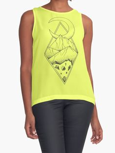 Geometric mountain in a diamonds with moon (tattoo style - black and white) by #Beatrizxe | #redbubble #shirt #tee Several mountains are enclosed in two overlapping diamonds or rhombs. A crescent moon escapes of the diamonds and it seems a optical illusion #Geometric  #illustration #mountain #diamond #rhomb #moon #optical #illusion #ink #tattoo #line #pointillism #design #sketch #doodle #minimal #minimalism #mountains #night #minimalist