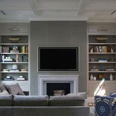 Northworks Architects - shallower coffers with crown molding below with darker walls for contrast.