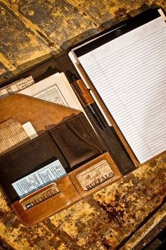Leather Handcrafted Padfolio Planner for Men - by Buffalo Jackson Trading Co. For Travel, Portfolio, and Business. Great gift for him.