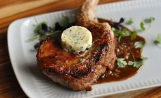 Pan-Seared Veal Chops with Citrus-Herb Butter Recipe - These juicy veal chops cook quickly, and if you make the citrus-herb butter ahead of time, the dish is perfect for a weeknight dinner, although it feels much more special. Recipe D, Chops Recipe, Butter Recipe, Recipe Ideas, Veal Chop, Lamb Dishes, Beef Dishes, Veal Milanese, Gratin