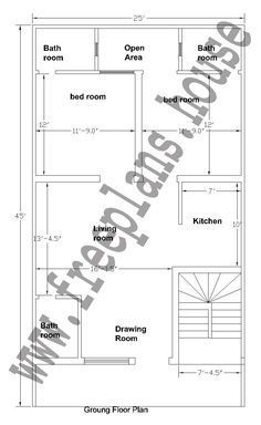 20x40 Feet Ground Floor Plan Plans Pinterest