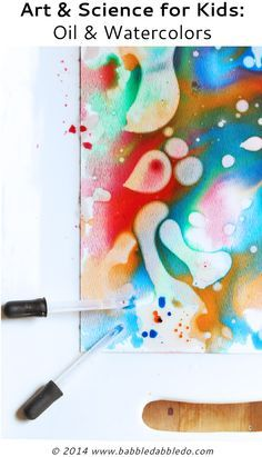 Easy art projects for kids: Experiment with oil and watercolors.