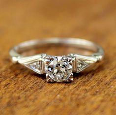 Julia Vintage Diamond Engagement Ring circa 1950 via turtleloveco.com