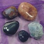 5 Element Stones:  Hematitie for Earth, Blue Calcite for Wind, Sunstone for Fire, Blue Aventurine for Water, and Pietersite for Storm.