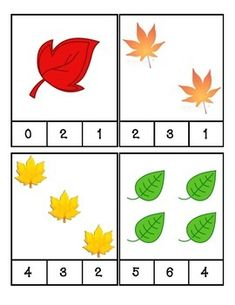 Fall Leaves Count and Clip Cards by PreK Printables Shop Fall Preschool Activities, Numbers Preschool, Kindergarten Math Worksheets, Preschool Math, Preschool Fall Theme, Fall Crafts, Crafts For Kids, Autumn Theme, Autumn Leaves
