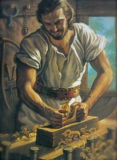 Jesus as a carpenter before beginning his mission. ...artist not listed...