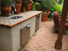 outdoor kitchen tile countertop | ideas for outside the house