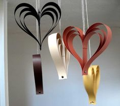 Paper Hearts, Fall Decor, Fall Wedding Decorations, Pew Ends, Autumn Decor, Autumn Wedding