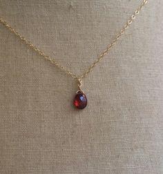 Garnet Drop, January Birthstone, Garnet Necklace, Birthstone Necklace, Garnet Briolette, Bridesmaid Jewelry, Bridesmaid Necklaces, Blood Red