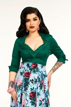 Pinup Couture Doris Top in Dark Green | Vintage Style Blouse | Pinup Girl Clothing