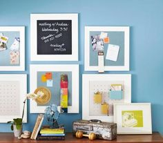 Paint old frames all one color and add pegboard, chalkboard paint or magnetic paint to make an organizing system.