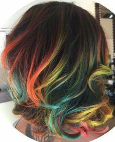 Beautiful rainbow glow orange streak dyed hair color inspiration @jennifer_lopiccolo_