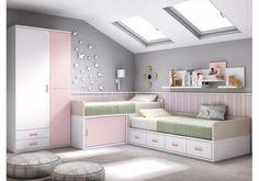 Dormitorio juvenil con camas cruzadas