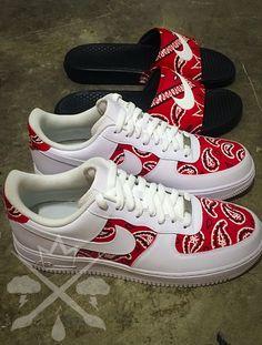 Nike Air Force One 1 Low Custom Red Bandana Men's White Snea.- Nike Air Force One 1 Low Custom Red Bandana Men's White Sneaker Shoe - Sneakers Mode, Cute Sneakers, Sneakers Fashion, Shoes Sneakers, Women's Shoes, Kickers Shoes, Baby Shoes, Shoes Jordans, Yeezy Shoes
