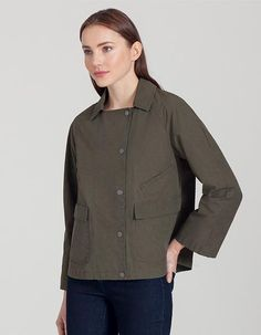 lightweight cotton-blend  jacket ...  diagonal pocket with a hidden button closure and oversize pockets on the front. There is also an interior security pocket with a z...
