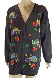 Quacker Factory Angel Christmas Sweater L Cardigan Hearts Holly Star Ugly Jumper #QuackerFactory #Cardigan