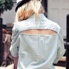 Turn a regular old man's button down shirt into a fab summer beach swimwear coverup with this easy DIY Open Back Button Down Coverup