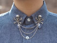 Are you a pirate? Do you want to be a pirate? Do you want to advertise your inedibility to cannibals? Let this skull and crossbones collar chain do