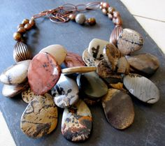 Picasso Jasper Copper Necklace  Statement  Multi by catrocks