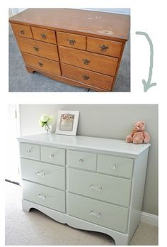 gray green dresser before and after