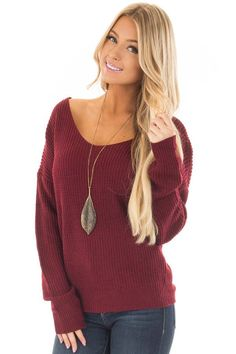 852ff717696f3 Lime Lush Boutique - Burgundy Knit Sweater with Open Twist Back