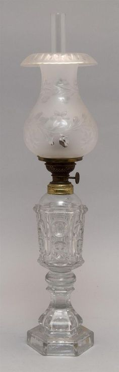 """CLEAR SANDWICH GLASS WHALE OIL LAMP In """"Star and Ellipse"""" pattern. Wi... Lot 308"""