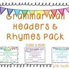 Grammar Wall Headers and Rhymes Pack includes color and black  white copies of...  Noun Verb Adverb Adjective Pronoun Preposition Conjunction ...