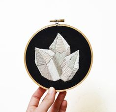 Hoop Art - Quartz CRYSTALS - Hand-Stitched Contemporary Mineral Embroidery Art