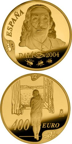 euro: Centenary of the birth of Salvador Dalí.Country: Spain Mintage year: 2004 Face value: 400 euro Diameter: mm Weight: g Alloy: Gold Quality: Proof Mintage: pc proof Piece Euro, Rich Money, Gold Money, Gold And Silver Coins, Ancient Egyptian Art, European History, Rare Coins, Coin Collecting, Precious Metals