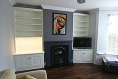 Sheffield Victorian fitted alcove units in off-white - Eclectic - Living Room - Other - by Freebird Interiors Corner Unit Living Room, Alcove Storage Living Room, Corner Tv Unit, Narrow Living Room, Eclectic Living Room, Living Room Green, Living Room Tv, Living Room Designs, Corner Cupboard
