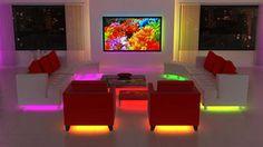 living room furniture with led lights