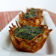 Spinach and Goat Cheese Hashbrowns Nests @keyingredient #cheese #tomatoes