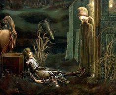 """Sir Edward Burne-Jones """"Sogno di Lancillotto presso la cappella del Sacro Graal"""" (1895-96)"""
