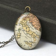 Italy Map Pendant Necklace Italy Necklace Italy by petiteVanilla, $8.00
