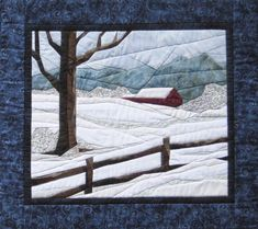Snow Scene - NEW Foundation Paper Piecing Method - (Picture Piecing) - x Quilt Hanging Quilts, Quilted Wall Hangings, Paper Piecing Patterns, Quilt Patterns, Quilting Ideas, Landscape Art Quilts, Winter Quilts, Foundation Paper Piecing, Snow Scenes