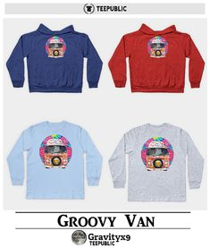Groovy Hippie Van Baby Shirts, Hoodies and kids long sleeve tee shirts for toddlers and little kids at #TeePublic by #Gravityx9 Designs ~  #groovyvan #groovy #hippievan #babywear #just4babies  #babyshirt   #surfervan