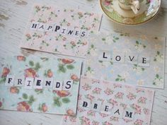 Floral notecards - dream - happiness - friends - love notecards - small notecards- blank - embellishments