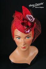 1940s 50s PILLBOX HAT red silk ROSES purple orange birdcage veil Anna Chocola £70.00 (BIN)