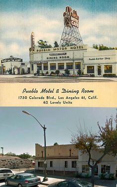 The Pueblo Motor Hotel (built in 1957 according to Redfin) now appears to be the address of a senior living center known as the Alma Lodge. The location is in Eagle Rock. (Bizarre Los Angeles)