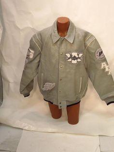 Avirex Gray Leather Varsity Jacket - XXL * #Avirex #VarsityBaseball
