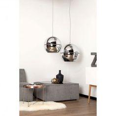 EEK A++, Pendelleuchte Retro 70 C40 1-flammig - Silber Metall