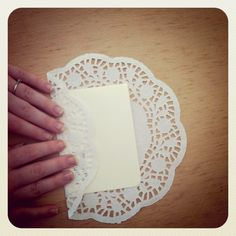 DIY doily envelopes or menu cards. even use Mel's fabric embosser with burlap? Doilies Crafts, Paper Doilies, Handmade Greetings, Greeting Cards Handmade, Wedding Cards, Diy Wedding, Wedding Programs, Gifts For Professors, Diy Envelope